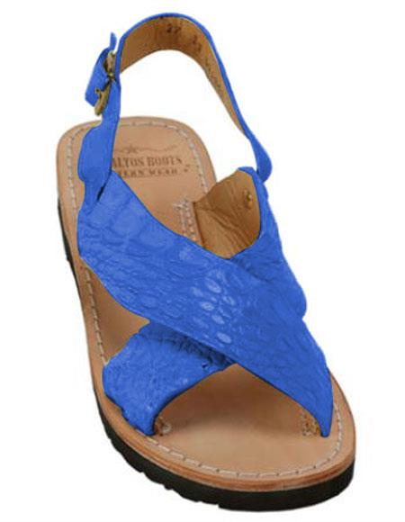 mens electric-blue exotic skin sandals in ostrich or alligator or stingray skin in white or black or red or tan or brown or oliv