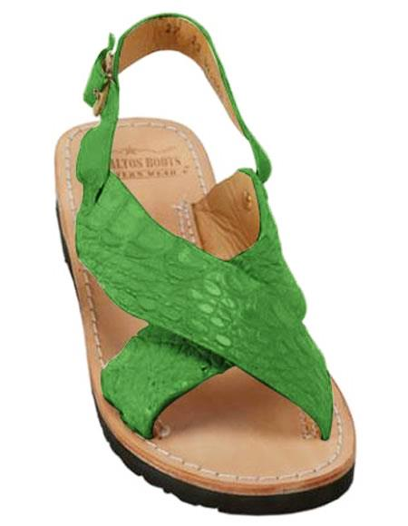 mens exotic skin forest sandals in ostrich or alligator or stingray skin in white or black or red or tan or brown or olive color