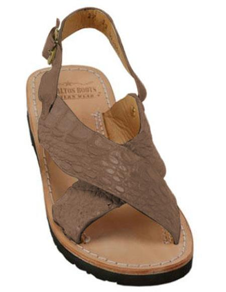 mens exotic skin matte-brown sandals in ostrich or alligator or stingray skin in white or black or red or tan or brown or olive