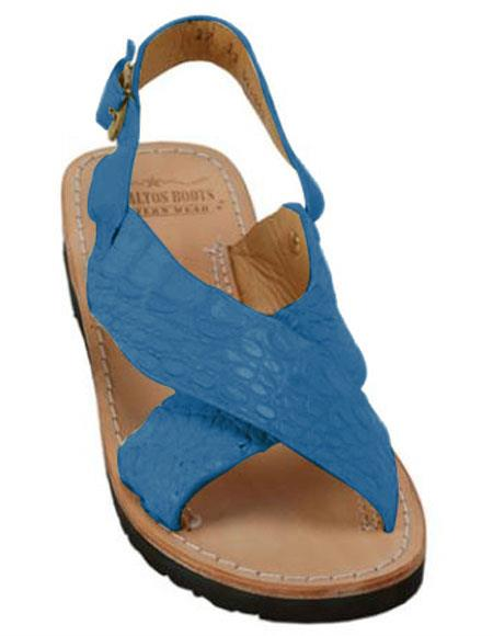 mens exotic skin pacific blue sandals in ostrich or alligator or stingray skin in white or black or red or tan or brown or olive