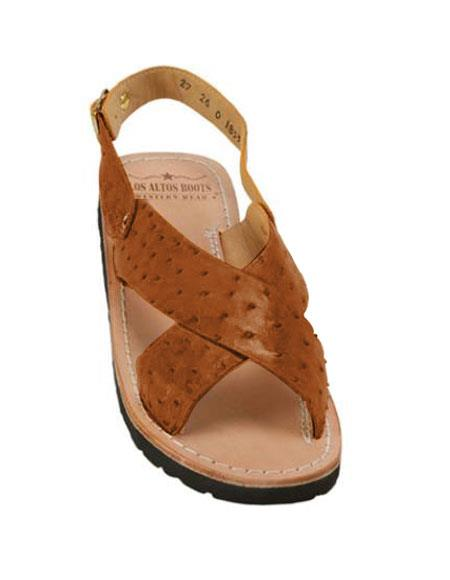 mens cognac exotic skin sandals in ostrich or alligator or stingray skin in white or black or red or tan or brown or copper or o
