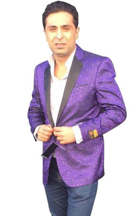 Mens Single Breasted Paisley Purple blazer