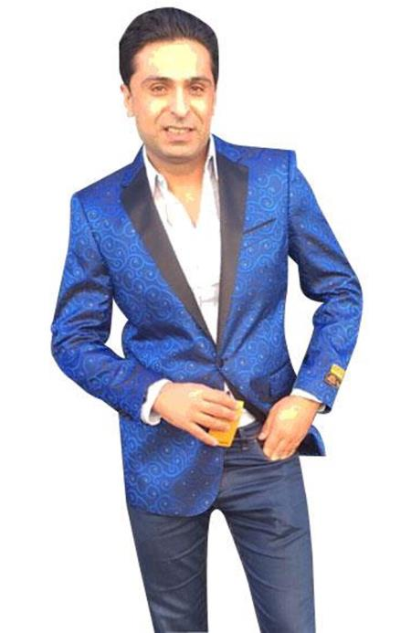 Alberto Nardoni Brand Mens Royal Blue Cheap Priced Designer Fashion Dress Casual Blazer On Sale Paisley blazer ~ sport coat jacket