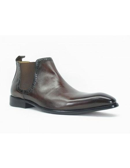 Buy KH164 Men's Carrucci Burnished Calfskin Slip-On Brown ~ Black Low-Top Chelsea Boots