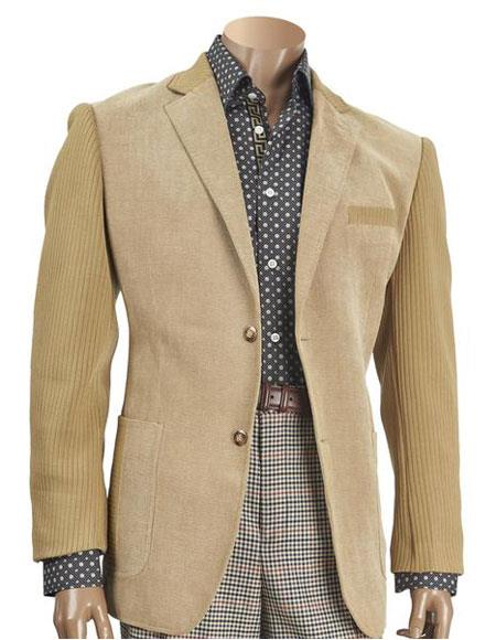 mens knit sleeve chenille blazer beige with elbow patch