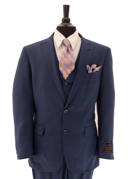 Buy SM4128 Tiglio Men's 2 Button Single Breasted Peak Lapel Ocean Blue Vested Suit