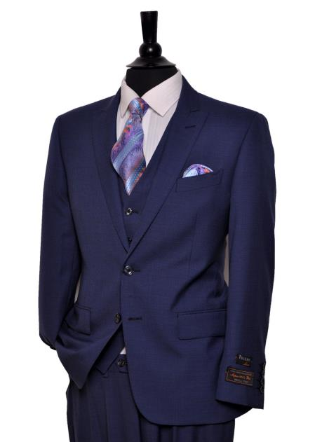 Buy SM4123 Tiglio Men's Single Breasted 2 Button Medium Blue 150's Wool Peak Lapel Vested Suit