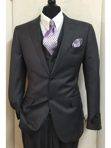 Buy SM4121 Tiglio Men's Single Breasted 2 Button 150's Wool Peak Lapel Vested Suit Charcoal