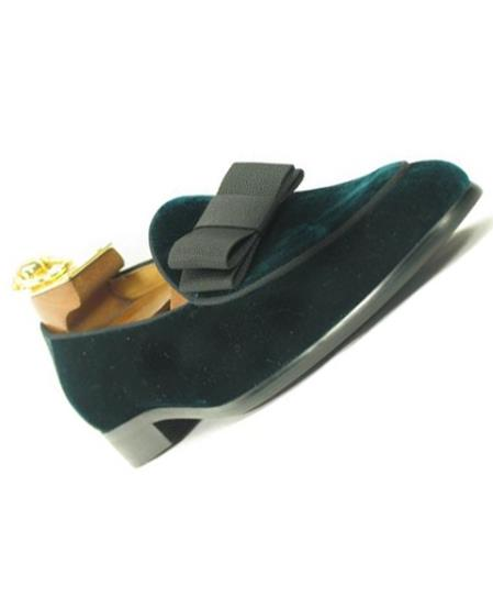 1950s Men's Clothing Mens Slip On Velvet  Bow Tie Emerald Tuxedo Formal Dress Shoe $125.00 AT vintagedancer.com