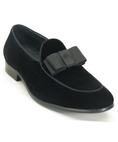 1920s Mens Clothing Black Mens Fashionable Genuine Bow Tie Slip On Style Velvet Tuxedo Formal Dress Shoe $160.00 AT vintagedancer.com
