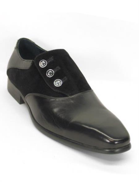 Mens Retro Shoes | Vintage Shoes & Boots Mens Genuine Black Leather Fashionable Button Up Slip On Loafer $125.00 AT vintagedancer.com