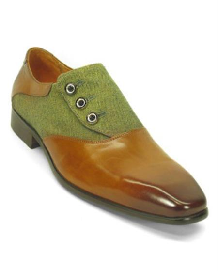 men's genuine two toned cognac leather fashionable button up slip on shoes