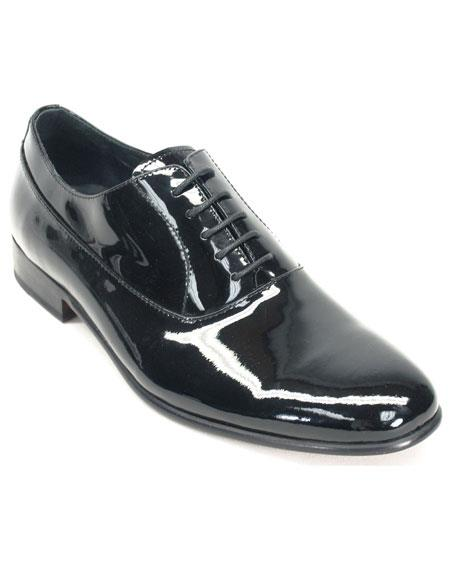 New Vintage Tuxedos, Tailcoats, Morning Suits, Dinner Jackets Mens Black Genuine Patent leather oxford Tuxedo Formal Dress Shoe $130.00 AT vintagedancer.com