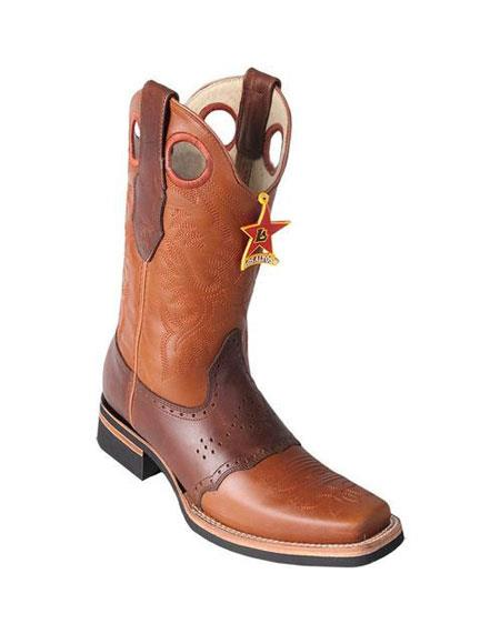 men's los altos square toe boots honey & brown with saddle rubber sole handmade