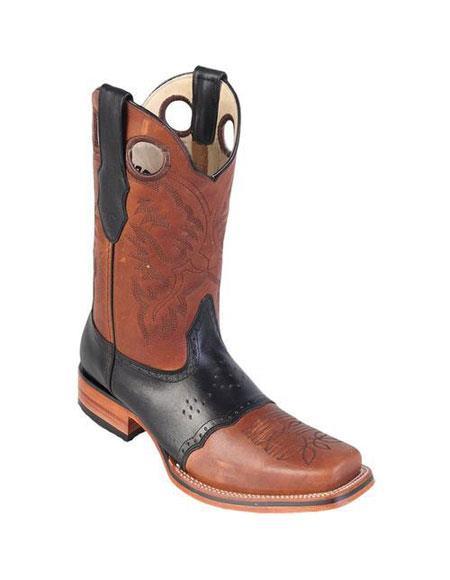 men's los altos square toe honey & black boots with saddle rubber sole handmade