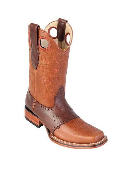 men's los altos square toe honey & brown boots with saddle rubber sole handmade