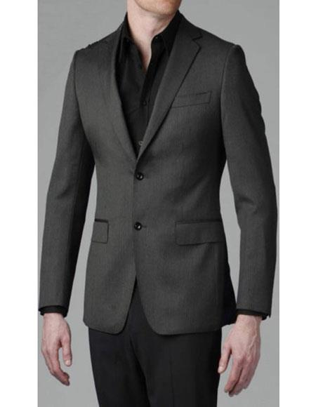 Charcoal Grey Slim fit blazer 2 Buttons Solid Sport coat Jacket