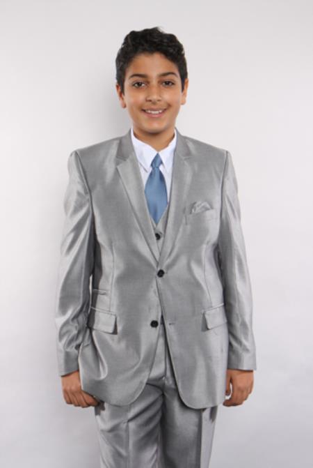 boy's sharkskin 5 piece silver single breasted suit vested w/shirt, tie & hanky