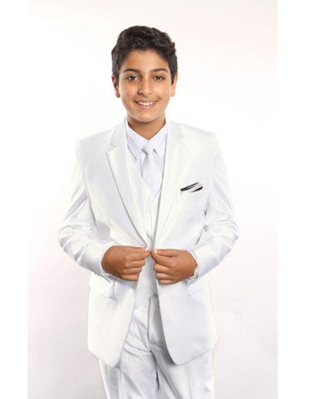 Buy GD261 Boy's 5 Piece Single Breasted White Suit Vested White Shirt, Tie & Hanky Stylish Sheen