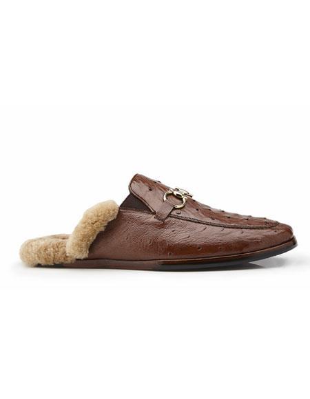 Buy AP324 Mens Brown Genuine Ostrich Genuine Mule Slip-on Belvedere Shoe