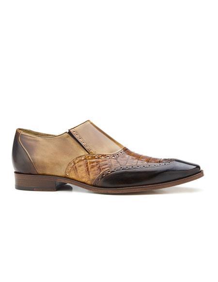 Buy AP339 Mens Genuine Crocodile Italian Calf Slip-On Belvedere Shoe Dark Brown/Camel/Tabac