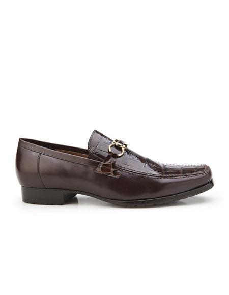 Buy AP343 Plato Mens Chocolate Brown Genuine Alligator Italian Calf Slip-On Belvedere Loafer