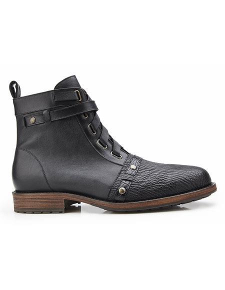 Buy AP344 Mens Black Genuine Shark/Alligator Italian Calf Leather Laces Belvedere Boot