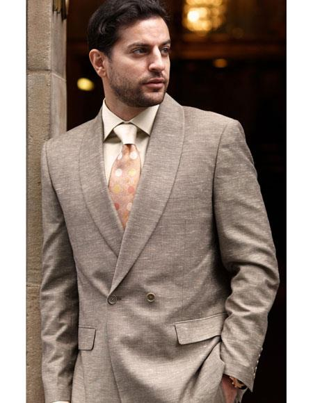 Buy AP378 Mens Taupe Double Breasted 2 Button Shawl Lapel Poly Blend Suit