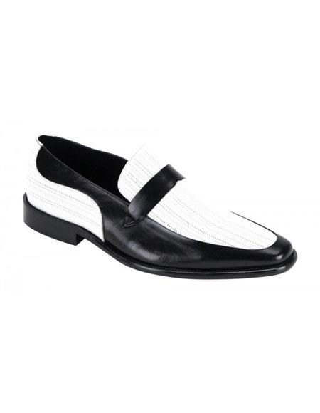 1960s Inspired Fashion: Recreate the Look Mens Two-Tone Steven Land Black  White Genuine Leather Slip On Shoes $110.00 AT vintagedancer.com