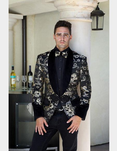 Mens Single Breasted Gold Suit Jacket, gold tuxedos