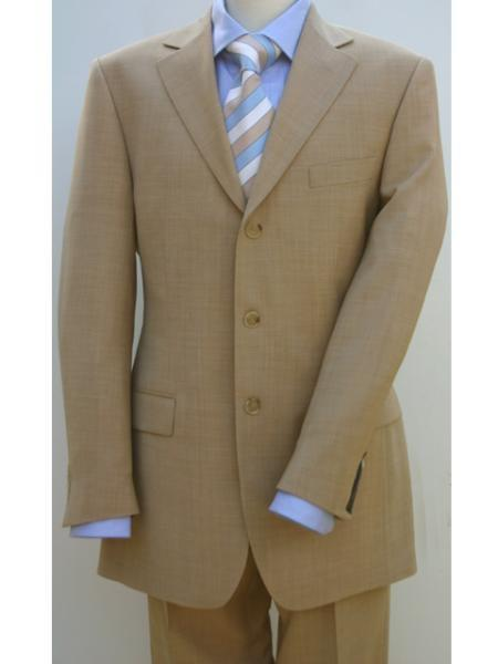 SKU#BTLI_03 Bronz/Gold/Tan ~ Beige Color 3 buttons Mens 3 buttons premier quality italian fabric Su