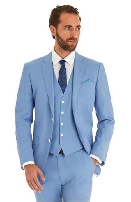 Mens Sky Baby Blue Ocean Single Breated 2 Button Suit