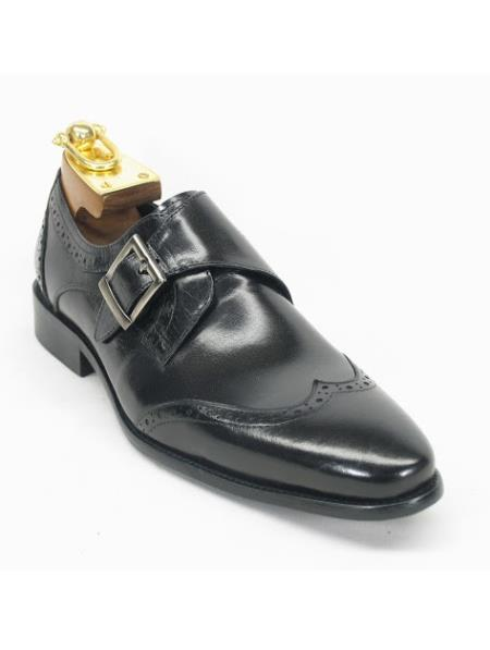 men's monk strap etching design wing toe style fashion black shoe