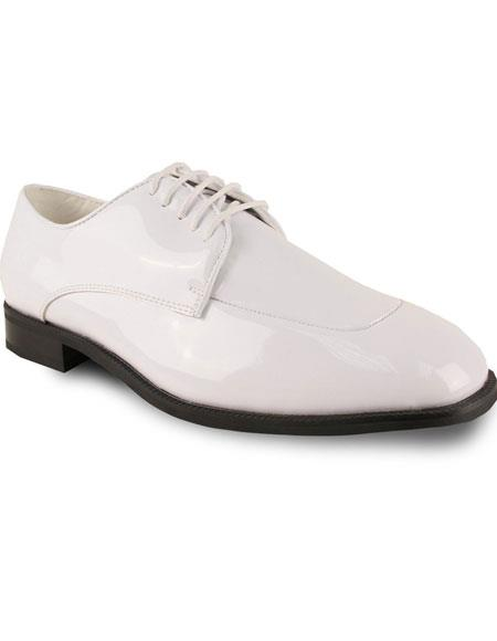1960s Men's Clothing, 70s Men's Fashion Mens Oxford Formal Tuxedo White Patent for Prom  Wedding Lace Up Dress Shoe $95.00 AT vintagedancer.com