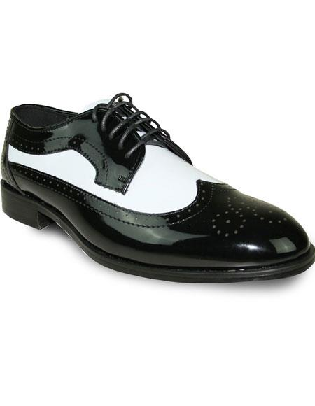 1950s Mens Shoes: Saddle Shoes, Boots, Greaser, Rockabilly Mens Two Tone Oxford Tuxedo BlackWhite Patent Formal for Prom  Wedding Lace Up Dress Shoe $95.00 AT vintagedancer.com
