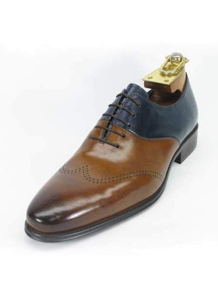 men's brown/navy two toned lace up wing toe style fashionable shoe