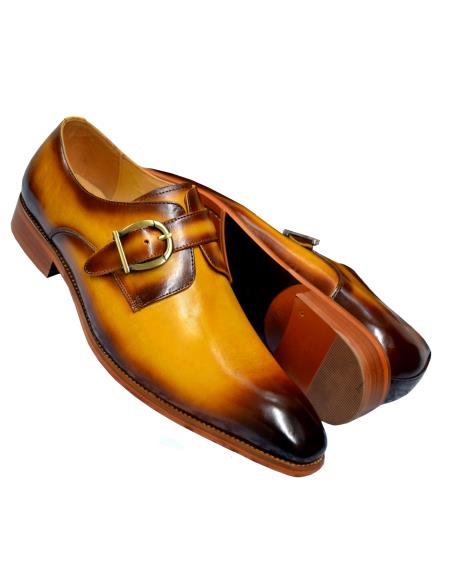carrucci cognac men's monk strap burnished calfskin leather shoes