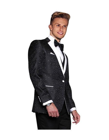 Mens Black 1 Button Modern Fit Floral Sateen Unique Paisley Sport Coat Wool Sequin Shiny Flashy Silky Satin Stage Blazer / Sport coat / Dinner Jacket