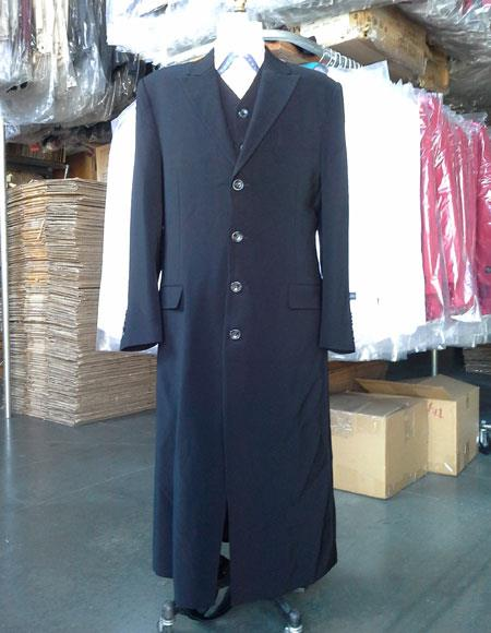 1920s Men's Clothing Mens Black Maxi full-length zoot suit Vested $199.00 AT vintagedancer.com