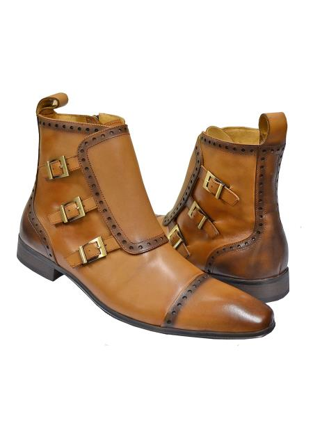 carrucci men's cognac genuine calfskin leather boots with three monk straps