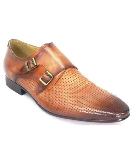 carrucci men's genuine calfskin leather coral perforation double monk strap shoes