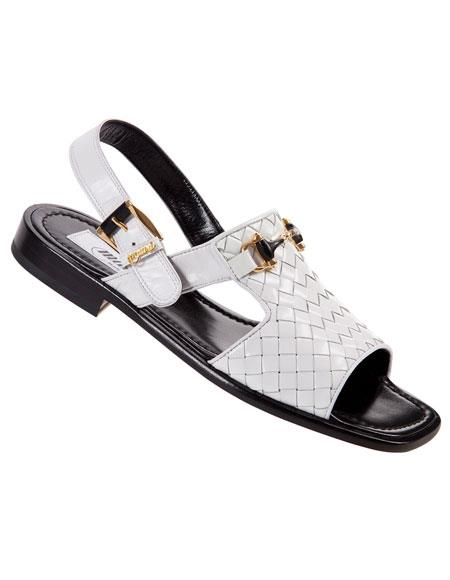 Buy GD444 Men's Mauri White Genuine Woven Leather / Kidskin Sandals Made ITALY 3 Month Delivery