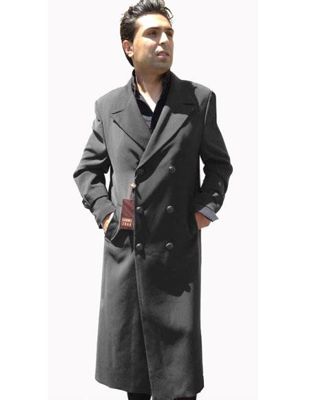 Edwardian Men's Fashion & Clothing 1900-1910s Mens Top Coat Buttons Closure Double Breasted Overcoat Charcoal Grey $199.00 AT vintagedancer.com