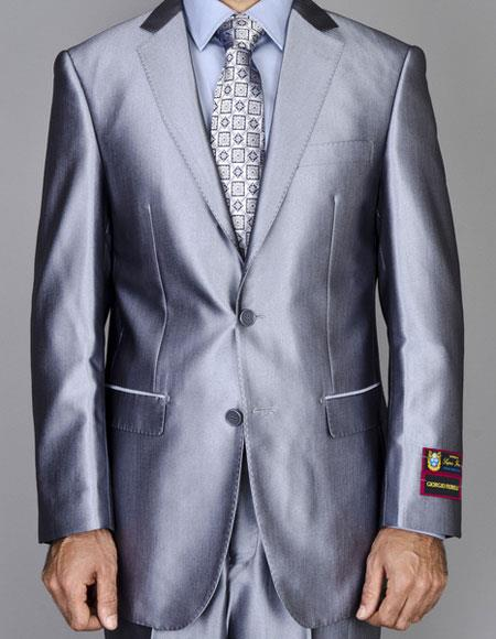Buy CH1367 Mens Shiny Two Buttons Authentic Giorgio Fiorelli Brand suits Flat Front Pants
