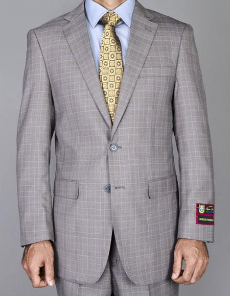 Buy CH1392 Men's Windowpane Single Breasted Authentic Giorgio Fiorelli Brand suits Flat Front Pants