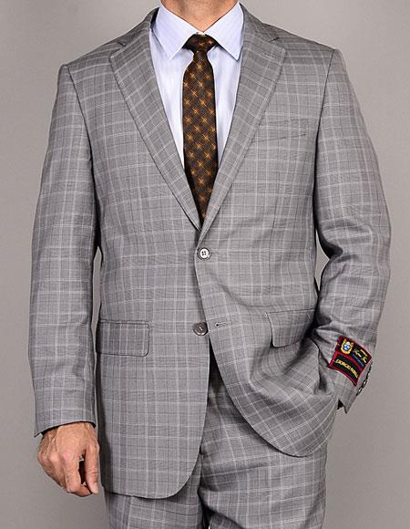 Buy CH1408 Men's Two Buttons Plaid Authentic Giorgio Fiorelli Brand suits Flat Front Pants