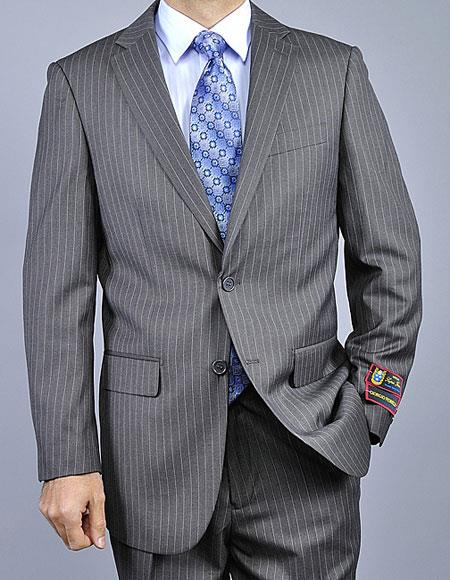 Buy CH1409 Men's Two Buttons Pinstripe Authentic Giorgio Fiorelli Brand suits Flat Front Pants