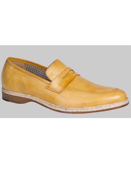 60s Mens Shoes | 70s Mens shoes – Platforms, Boots Mens Camel Leather Rope Trim Penny Loafer Shoes Mezlan Brand $345.00 AT vintagedancer.com