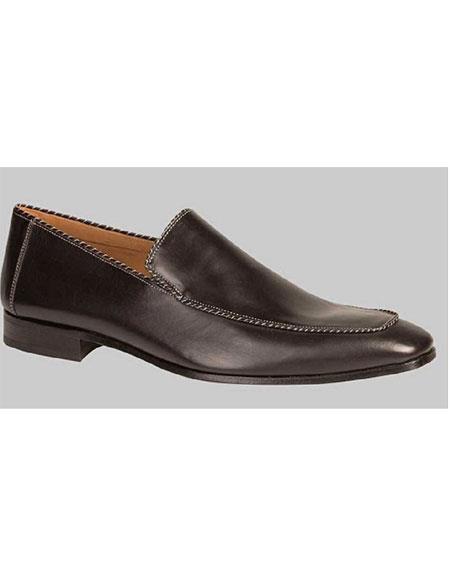 men's handmade black venetian piped trim slip on calfskin shoe authentic mezlan brand