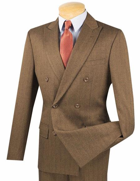 1940s Zoot Suit History & Buy Modern Zoot Suits Mens Double Shadow Mini Stripe Pattern Slim Fit Suit Taupe $139.00 AT vintagedancer.com